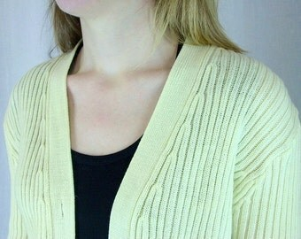 Vintage 1970's Off White Ivory Cardigan Sweater, Modern Size 8, Small