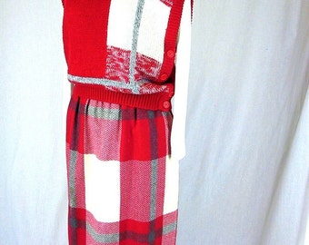 Vintage 1980's Red White and Gray Plaid Skirt and Sweater Vest, Modern Size 8, Small
