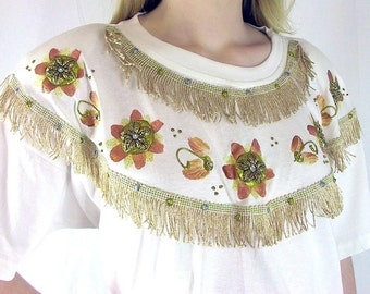 Vintage 1980's Embellished White and Gold Big T Shirt and Shorts, NWT, Modern Size 8, Small
