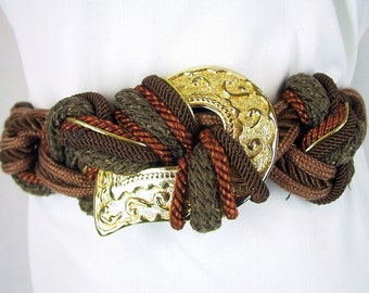 Vintage 1980's Chunky Brown Woven Belt, Modern Size 4, Extra Small