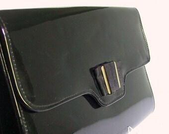 Vintage 1980's Black Patent Leatherlook Envelope Clutch Purse Handbag