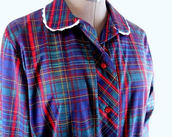 Vintage 1970's Blue Plaid Day Dress,  Modern Size 6 to 8, Small