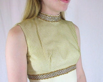 Vintage 1960's Ivory and Gold Party Prom Dress with Train, Modern Size 4 to 6, Extra Small to Small