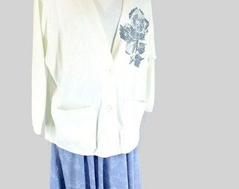 Vintage 1980's Blue Dress and White Jacket, Modern Size 18P, Extra Large