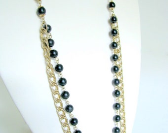 Vintage 1970's Long, Goldtone Chain and Black Bead Necklace