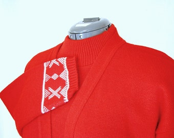 Vintage Red Nordic Folk Sweater Dress with Matching Cardigan Jacket, Modern Size 10 Medium