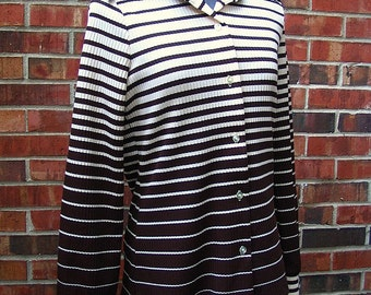 Vintage 1970's Brown Ombre Striped Knit Shirt, Modern Size 12, Medium