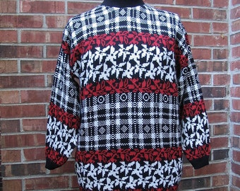 Vintage 1980s Sweater, Red Black and White Sweater, Modern Size 16, Large