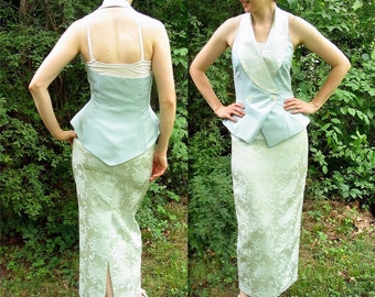 Upcycled Mint Green Prom Party Halter Dress, Modern Size 6 to 8, Small