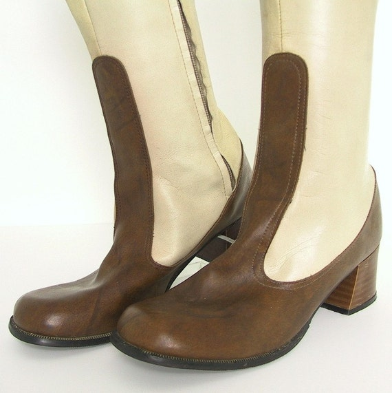 Vintage 1970's Boots, Tall, Mod, Brown and Cream Boots