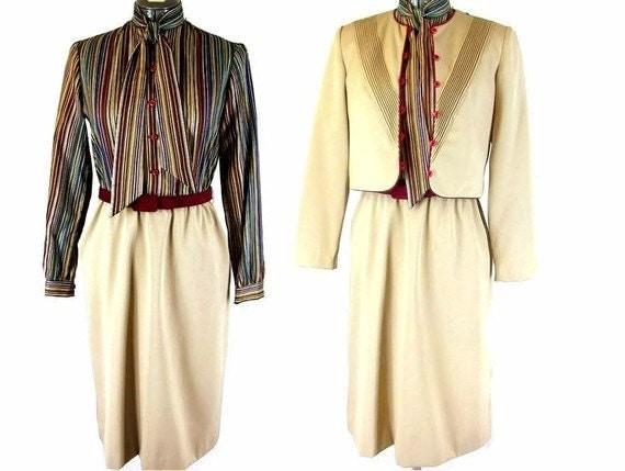 Vintage 1970's Tan / Beige Scooter Secretarys Dress and Jacket, Modern Size 8, Small