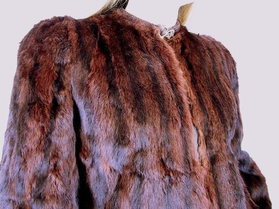 Vintage 1980's Short Fur Coat Cropped Jacket, Modern Size 8, Small