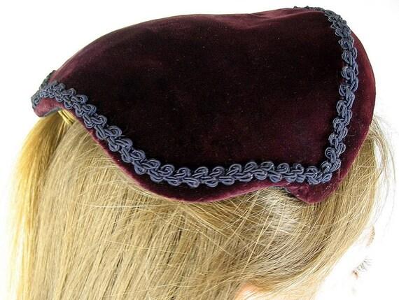 1950s Hat Vintage Burgundy Velvet with Black Trim from Lecie Originals