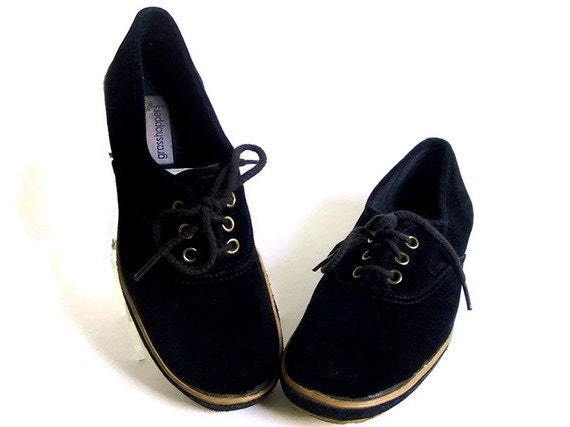 Black Grasshopper Shoes Black Tennis Shoes Vintage