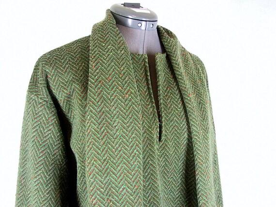 Vintage 1970's Green Herringbone Knit Tent Dress, Modern Size 12 Medium