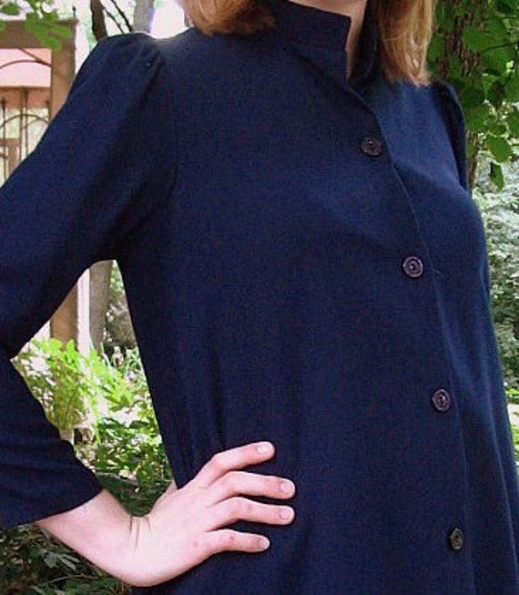 Vintage Navy Blue Maternity Shirt Top, Modern Size 8, Small