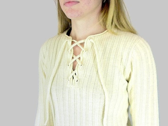 Vintage 1970's Winter White Lace Up Pullover Sweater, Modern Size 8, Small