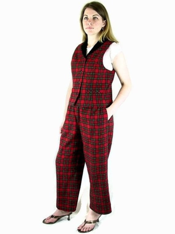 Vintage Red and Black Plaid Suit, Black Velvet Trimmed Vest and Pants, Modern Size 8 to 10, Small to Medium
