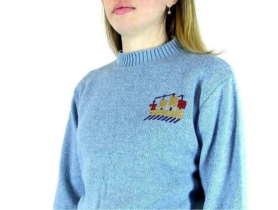 Vintage 1970's Men's Blue Crew Neck Pullover Sweater, Modern Size Small
