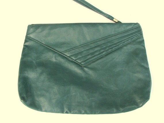 Vintage 1980's Green Leather Clutch Purse