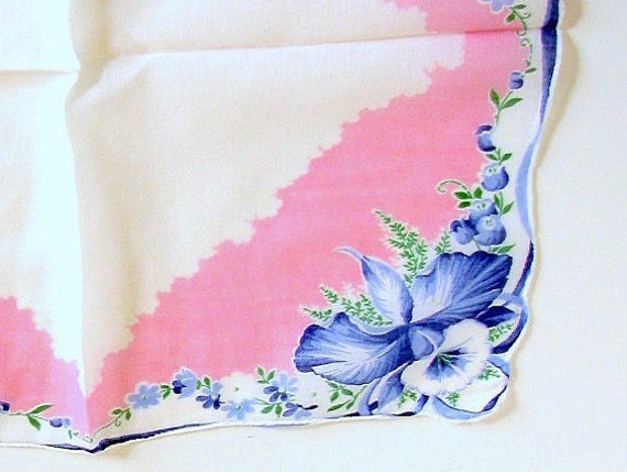 Vintage Blue Flowers on Pink Handkerchief