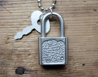 Charms on Chain, Vintage Silver Padlock with key on Base Metal Ball Chain, Reclaimed, Upcycled Gifts under 20, Gifts for Her