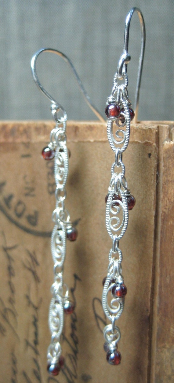 SALE Garent Silver Earrings, Gifts for her, Valentines Gifts, Gifts under 10, Ready to Ship