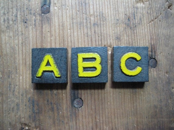 Vintage Wood Anagram Game Pieces, Black and Yellow, Retro Home Decor, Gifts under 10, ABC Sign