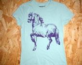 Cheval - women's screenprinted horse tshirt, purple on seafoam, in small medium large XL