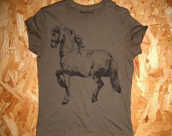 Cheval Small women's screenprinted horse T-Shirt, black on army