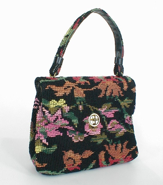 60s Vintage Black Needlepoint Tapestry Small Handbag