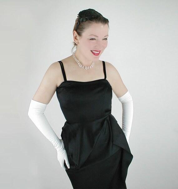 50s Vintage Black Satin Strappy Draped Cocktail Dress S