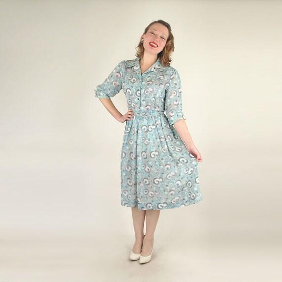 50s Light Blue Feather Print Shirtwaist Dress XL/Plus