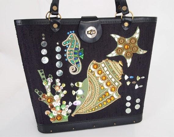 60s Vintage Enid Collins Style Black Undersea Bag with Jewels & Sequins