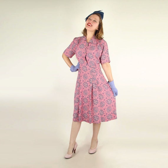 40s Pink Print Rayon Dress with Scalloped Front by Mode O'Day XL/Plus Size