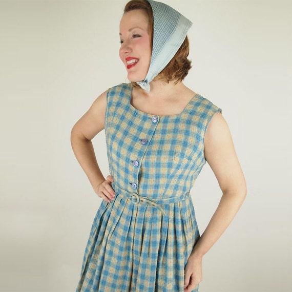 50s 60s Blue and Tan Plaid Full Skirt Dress L