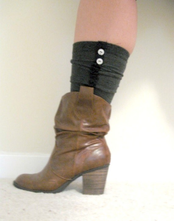 grey boot socks with ruffle lace and buttons ankle boots