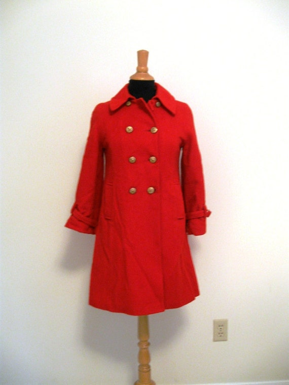 vintage red wool double breasted jacket with gold buttons Small