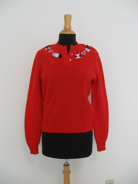 vintage nautical wool sweater with flags red white and blue Small Sailing