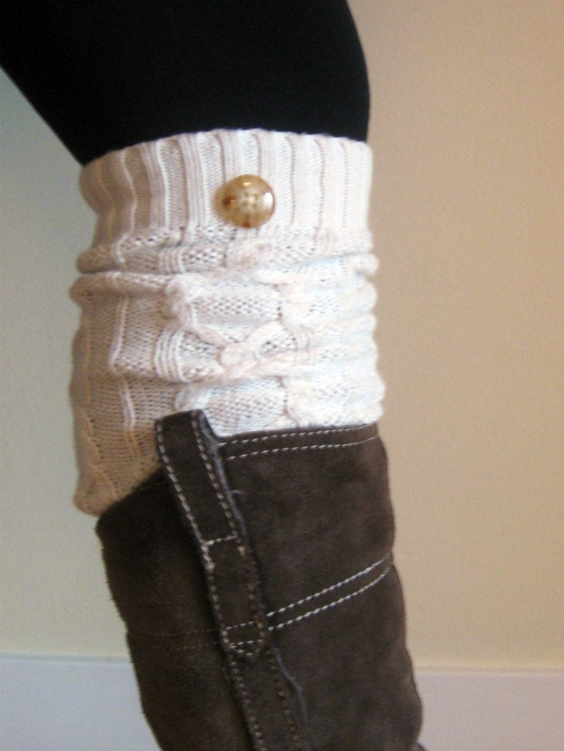 Knitting Pattern For Rain Boot Socks : Cream White cable knit boot socks / legwarmers with button