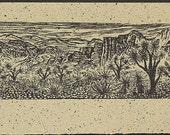 Woodblock Print Joshua Forest Southwest Desert Landscape Woodcut on Japanese Mulberry Paper