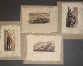 4 Woodcuts Collector's Set Classic Figures Earthtone Handmade Paper Copper Umber