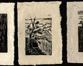 SET of 3 Original Woodcut Prints Grand Canyon Hiker's Views Rim Trail Landscapes on Handmade Paper
