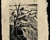 Original Woodcut Print on Handmade Paper Grand Canyon Overlook South Rim Trail