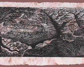 Original Art Large Woodcut Print Grand Canyon South Rim View Landscape Handmade Paper