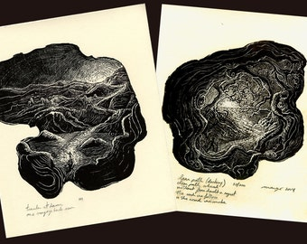 Original Woodcut Print Art SET 2 Wood Engravings Prints Inspirational Haiku Light Life Seeker Surreal