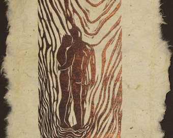 Couple Together Hopeful Look to Future In Love Original Woodcut Handmade Paper Ragged Edges LE
