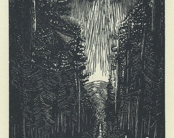 Original Wood Engraving - Traveling, Heading Home... Out of the Rain