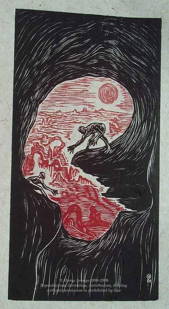 Original Woodblock Woodcut Print Color Art Dreamcatchers Surreal Southwest Figures in Landscape Red Sunset