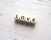 Vintage Wood Letter Dice- Love